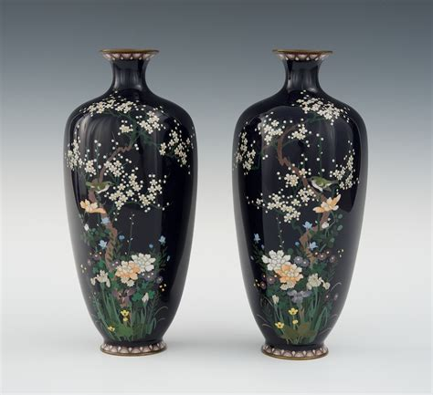 Cloissone Vase by A Pair Of Hexagonal Cloisonne Vases With Of Hayashi Chuzo Of Aichi 03 31 11 Sold 776 25