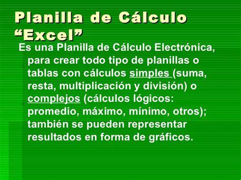 planilla de calculo planilla de calculo de excel