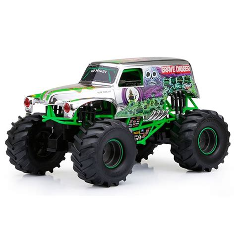 truck toys grave digger 1 10 scale grave digger chrome r c truck