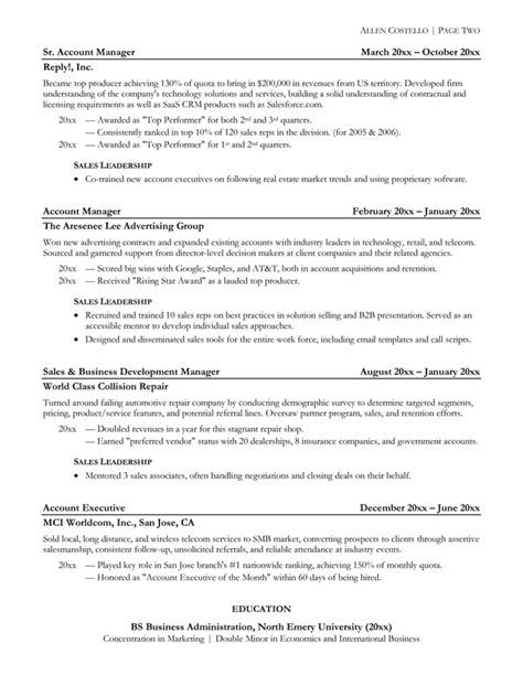 Html Resume Exles by Inside Software Sales Resume