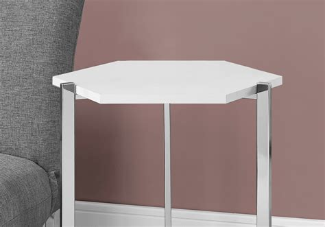 glossy white chrome metal accent table accent table hexagon glossy white chrome metal tables
