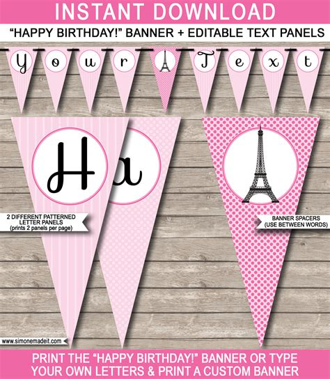 free barbie printable birthday banner paris party banner template happy birthday banner