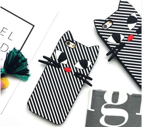 Op4972 Koko Cat Korea Ear Cat Soft Silicone For Ipho Kode Bi 7 free shipping iphone 7 6s se korean sweet black white stripe cat phone for iphone 6 plus 7