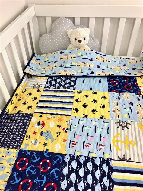 Patchwork Quilt Baby Bedding - nautical baby quilt nautical patchwork crib bedding nautical