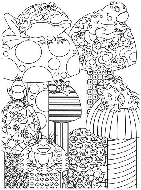 adult coloring page autumn frogs 6