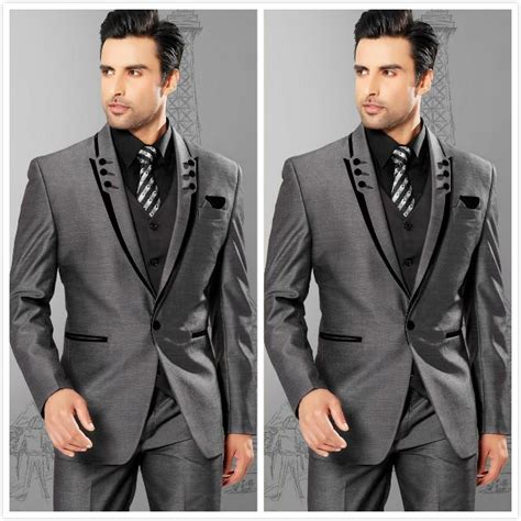 Slime Dress N2 slim silver grey satin groom tuxedos best groomsmen