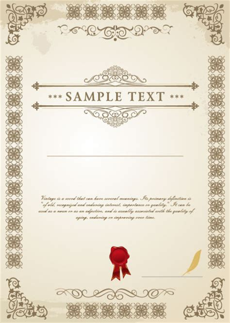 commonly certificate cover vector template free vector in exquisite certificate cover templates vector set free