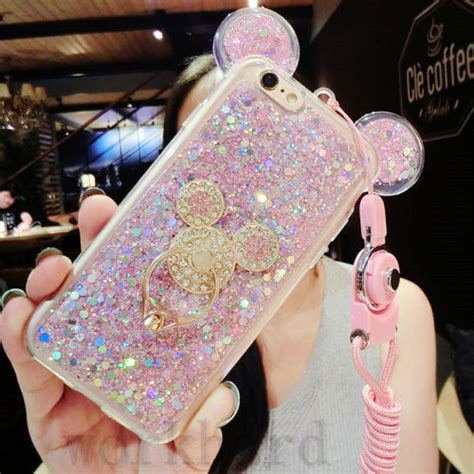 Ring Stent Gliter Hello 3 3d luxury bling giltter mouse ring kickstand