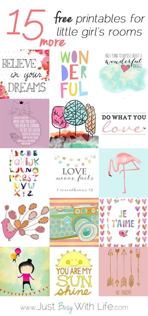 room free 15 more free printables for girl s rooms free