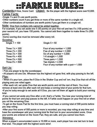 printable rules for farkle dice game pdf 11x17 farkle rules instant download print your own