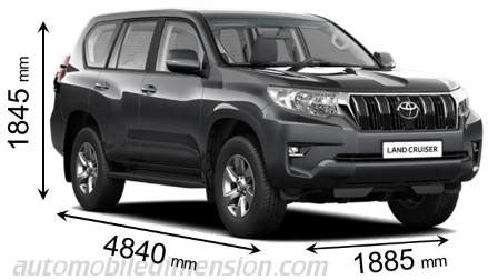 toyota land cruiser 5p 2018 dimensions, boot space and