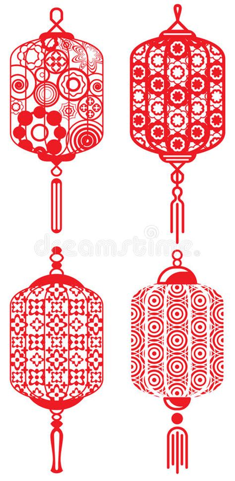 new year set design contemporary design lanterns set stock vector