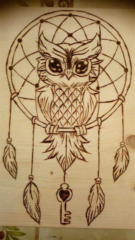 wonderful owl  dream catcher pyrography wood burning
