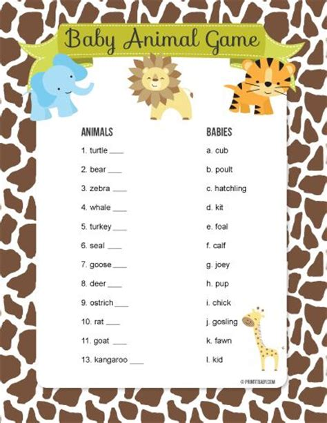 baby animal name baby shower instant printable baby shower pack with