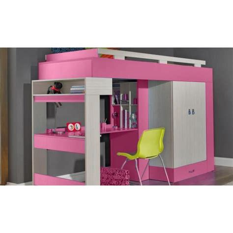 lit mezzanine avec bureau et armoire int馮r駸 lit sureleve avec bureau et armoire vera achat vente