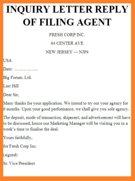 Inquiry Letter Travel Agency inquiry letter reply of filing how filing