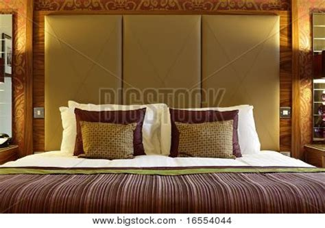 Large Bed Headboards by Bed With Large Headboard In A Luxury Hotel Stock Photo Stock Images Bigstock