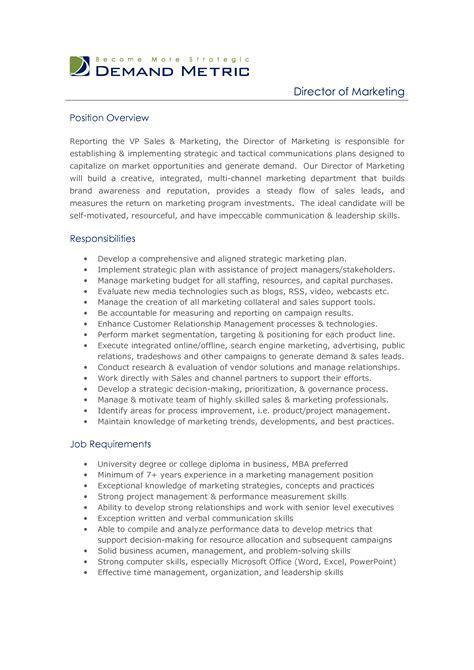 9 marketing manager job description free sample example