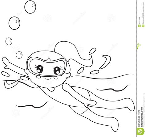 coloring page boy swimming children swimming clipart black and white clipartxtras