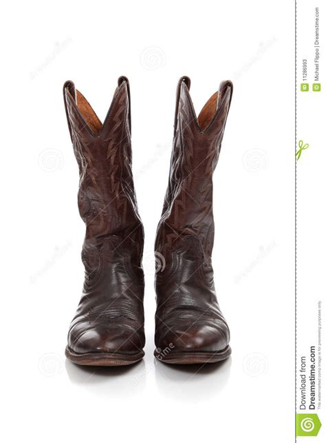 brown leather cowboy boots on white stock photos image
