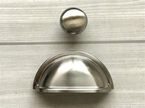 brushed silver cabinet hardware 3 quot pull dresser pulls knobs handles shell cup bin