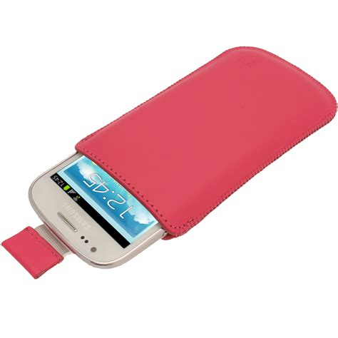 igadgitz pink leather pouch cover for samsung galaxy s3 iii mini i8190 android smartphone