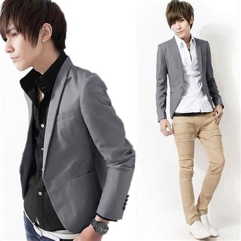 Blazer Navy Jas Pria Slimfit Korean Style Casual Pesta Kerja casual slim fit one button suit korean office blazer jacket coat top ebay