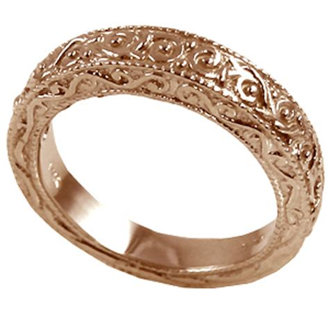 14k rose gold antique victorian wedding band ring