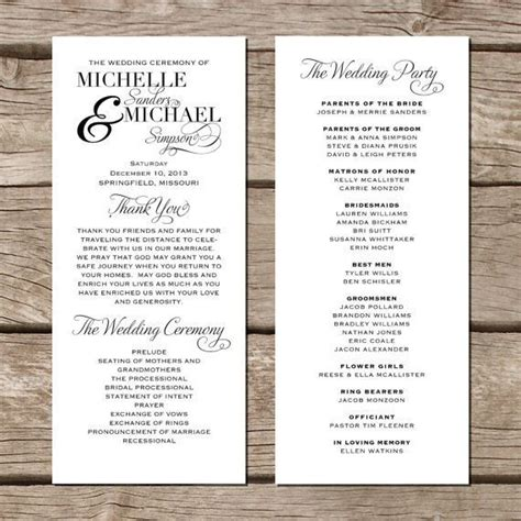 unique wedding programs templates creative wedding programs program template wedding