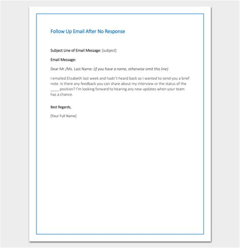 Follow Up Email After No Response Sle Exle Format Letter Templates Write Quick And Email After Template