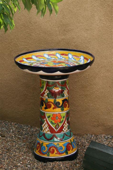 modern era talavera mexican pottery birdbath bought heb