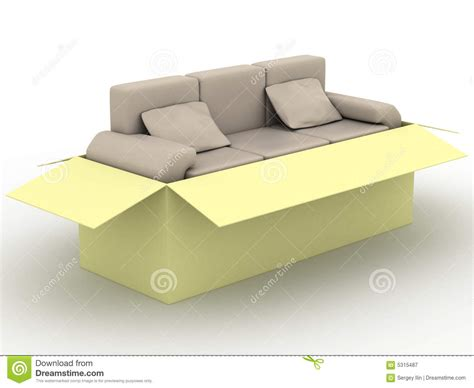 leather sofa in a packing box royalty free stock