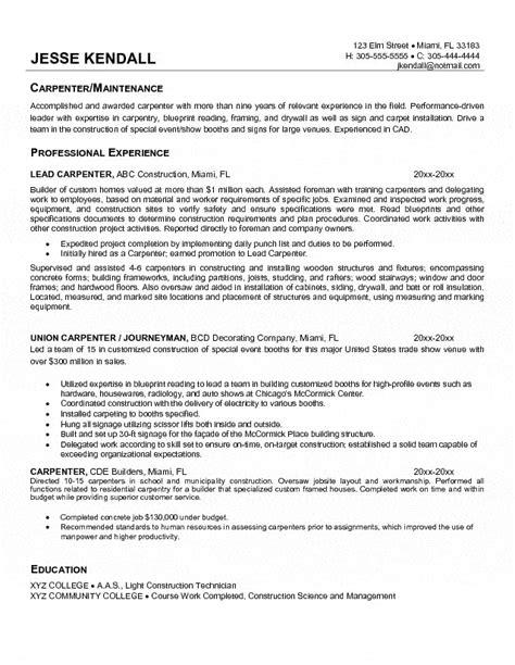 Carpenter Resume Sles Free carpenter resume sle resumes 2016