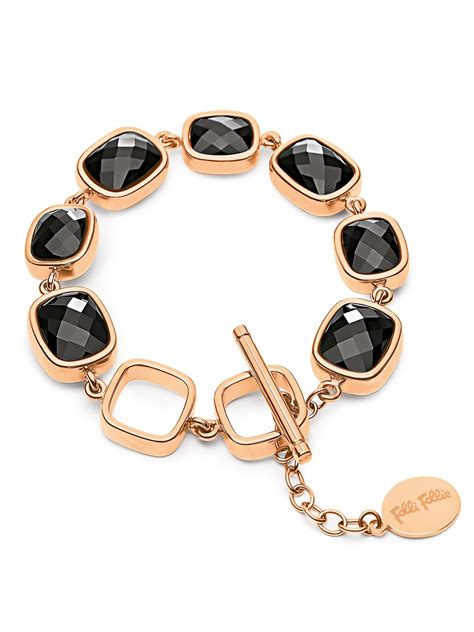 Follie Follie Black Gold 02413 folli follie elements bracelet in gold black lyst