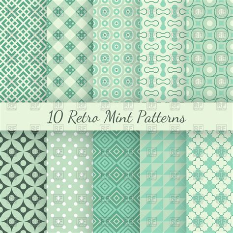 Retro mint and emerald seamless wallpaper patterns Royalty