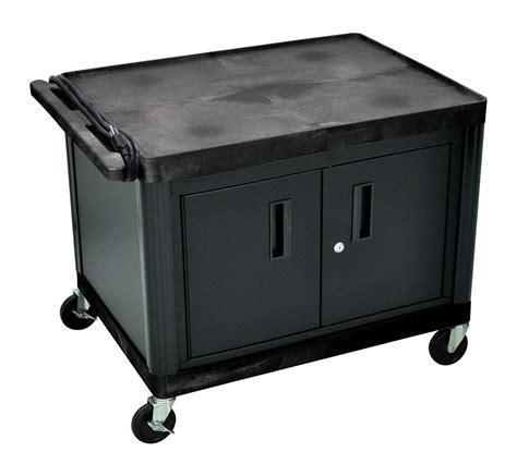 luxor cart with locking cabinet luxor mobile presentation av utility cart w 2 storage