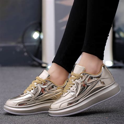2016 new gold loafers comfortable platform shoes