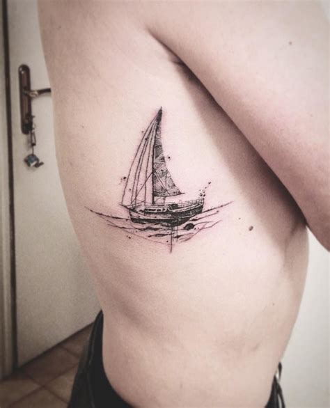 small marine tattoos boat delicate thin lines sailing