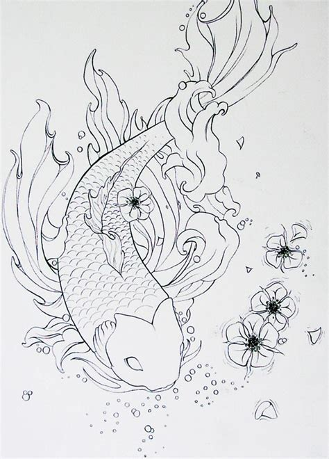 koi fish outline tattoo designs koi outline fish koi