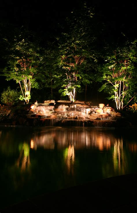 Pond Lighting by Ponds On Pond Waterfall Ponds And Backyard