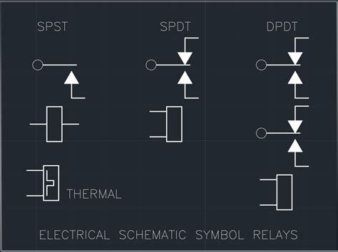 electrical schematic symbol relays free cad block and