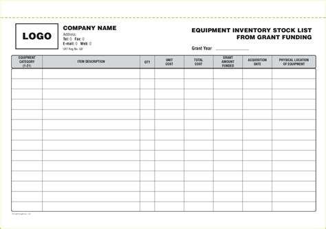 Stock List Template Free To Do List Construction Equipment Inventory Template