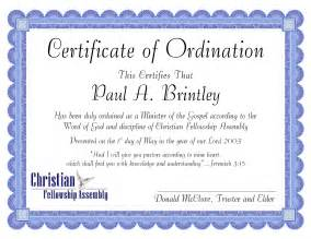 ordination certificate template pastor ordination certificate templates