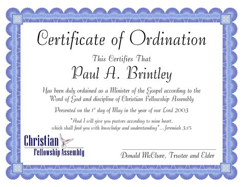 ordination certificate templates 10 best images of sle ministers license certificate