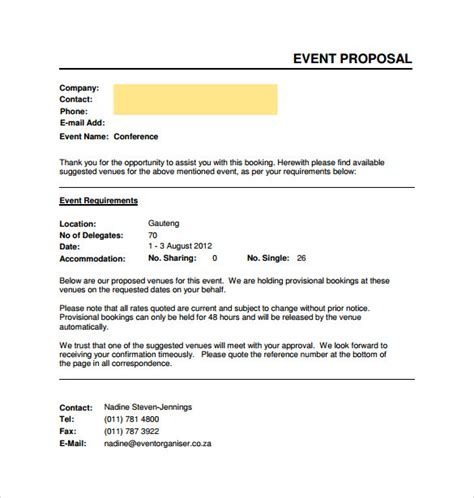 6 event sponsorship proposal template free bussines 2017 sample