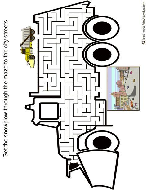 printable car maze truck maze free printable snow plow maze