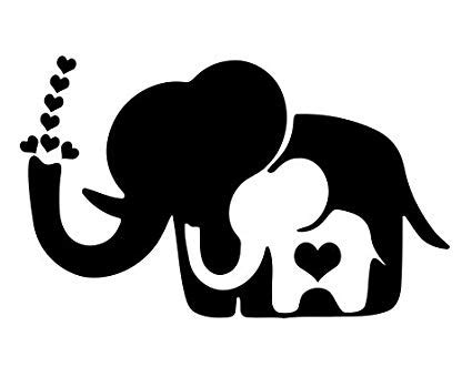 library  mama baby elephant black white svg stock png