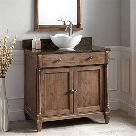 36 Quot Neeson Vessel Sink Vanity Rustic Brown Bathroom Bathroom Cabinets With Sink