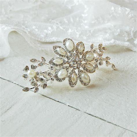 Pearl Hair Clip pearl and diamante hair clip by highland