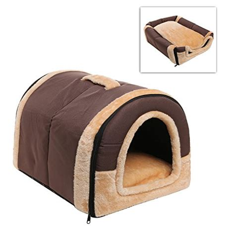 dog bed houses brown portable soft sided plush pillowed indoor small dog or cat convertible pet house